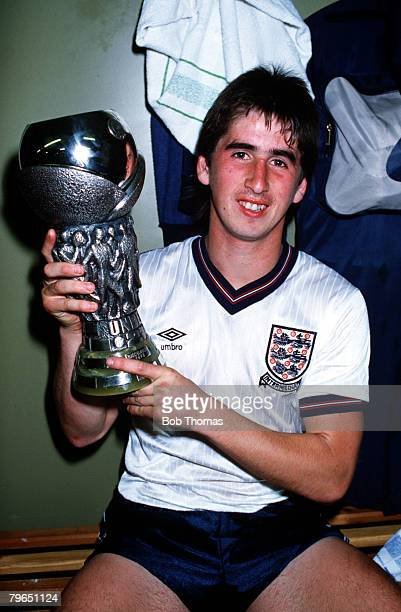 Sport Football European Under21 Championship Final Second Leg Sheffield 24th May 1984 England 2 v Spain 0 England's Nigel Callaghan holds the...