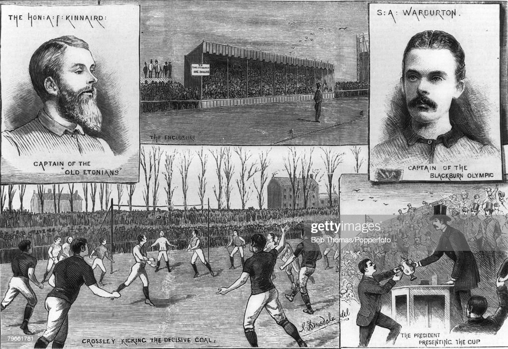 Sport, Football, F A Cup Final, Kennington Oval, Surrey, England, 31st March 1883, Blackburn Olympic 2 v Old Etonians 1 (aet), Composite Illustration of the key members and events of the match, The Old Etonians were captained by Lord Kinnaird, and Blackbu : ニュース写真