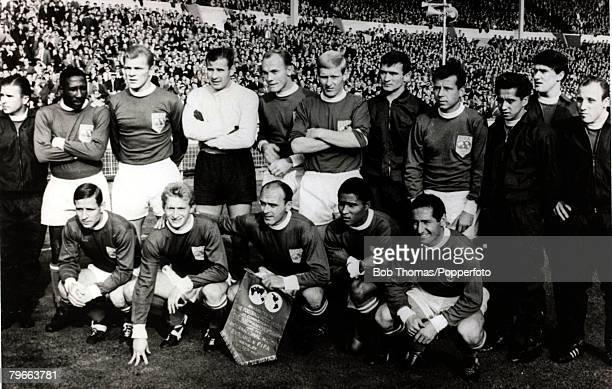 Sport Football FA Centenary Match Wembley 23rd October 1963 England v Rest of the World Rest of the World squad Back row LR Puskas D Santos Pluskal...