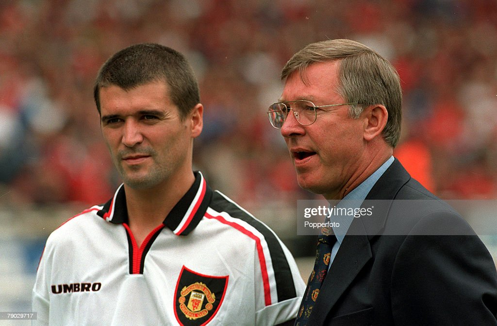 Sport. Football. FA Charity Shield. Wembley, London, England. 3rd August 1997. Manchester United 1 v Chelsea 1 (Manchester United win 4-2 on penalties). Manchester United Manager Alex Ferguson (right) is pictured with his captain Roy Keane. : News Photo