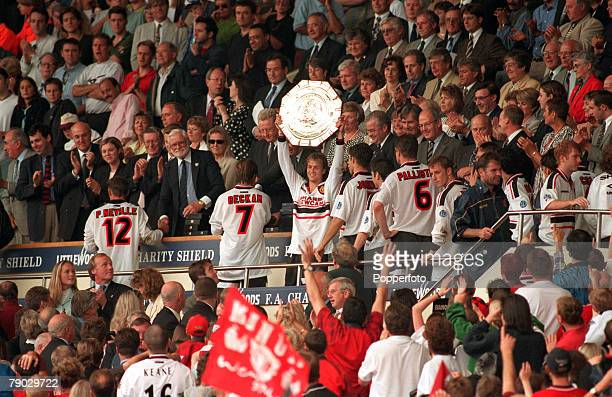 Sport Football FA Charity Shield Wembley London England 3rd August 1997 Manchester United 1 v Chelsea 1 Manchester United's Jordi Cruyff holds the...