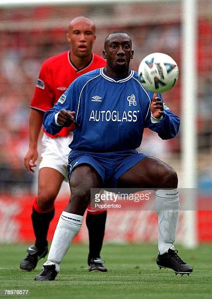Sport Football FA Charity Shield Wembley13th August Chelsea 2 v Manchester Utd 0Chelsea striker Jimmy Floyd Hasselbaink looks to control the loose...