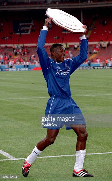 Sport Football FA Charity Shield Wembley13th August Chelsea 2 v Manchester Utd 0Delighted Chelsea defender Marcel Desailly with the FA Charity Shield