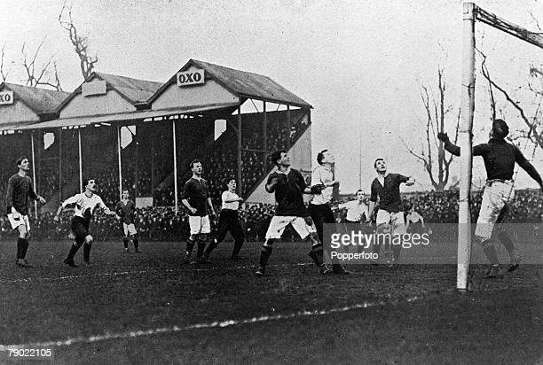 Sport Football FA Cup England January 1905 Manchester United v Fulham The United goal is threatened during the match