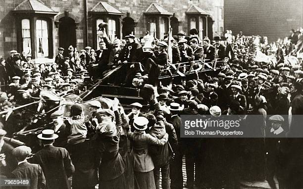 Sport, Football, FA Cup Final, Crystal Palace, London, England, 27th April 1914, Burnley 1 v Liverpool 0, This picture shows Burnley F,C, being...