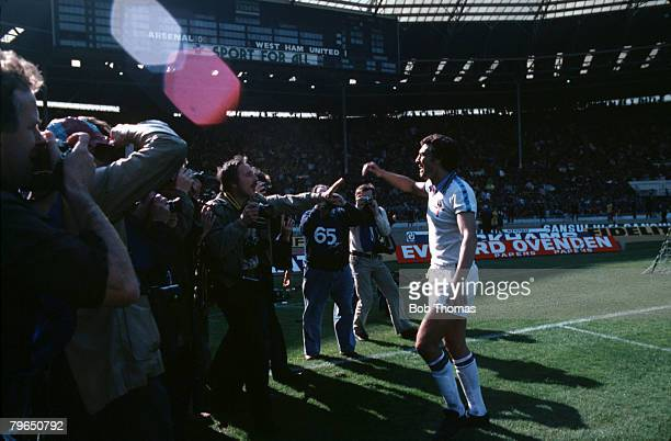 Sport Football FA Cup Final Wembley 10th May 1980 West Ham United 1 v Arsenal 0 West Ham's Trevor Brooking celebrates as he has his picture taken by...