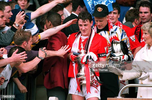 Sport Football FA Cup Final Wembley 14th May 1994 Manchester United 4 v Chelsea 0 Manchester United captain Steve Bruce is pictured with the trophy