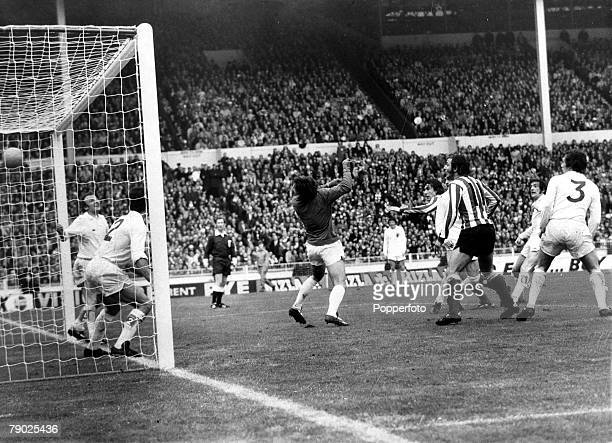 Sport Football FA Cup Final Wembley London England 5th May 1973 Sunderland 1 v Leeds United 0 The Leeds goalkeeper David Harvey and his defence are...