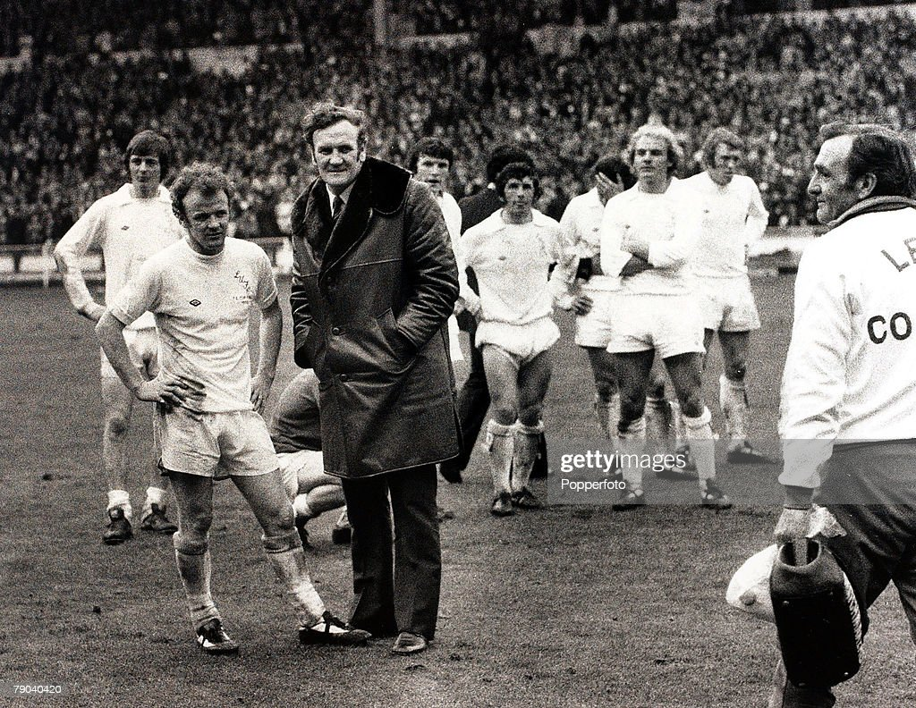 Sport, Football, FA Cup Final, Wembley, London, England, 5th May 1973, Sunderland 1 v Leeds United 0, Dejected Leeds United Manager Don Revie and his captain Billy Bremner are pictured with the crestfallen team after their shock defeat at the hands of the 2nd Division side