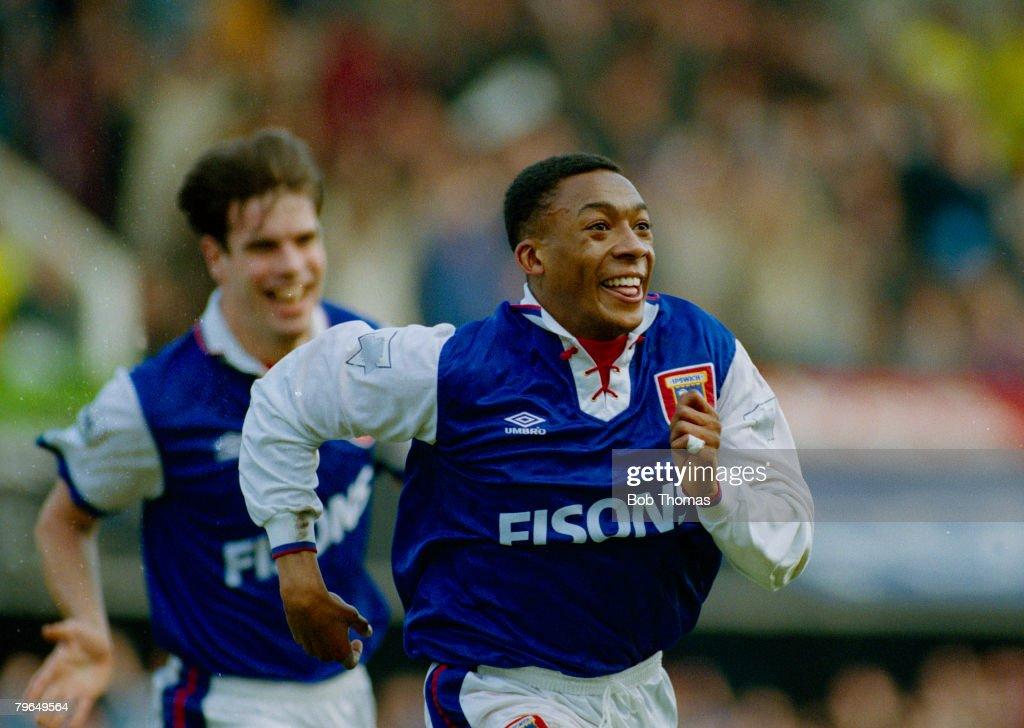 BT Sport, Football, FA, Cup Quarter Final, Ipswich Town 2 v Arsenal 3, pic: 6th March 1993, Ipswich Town striker Chris Kiwomya celebrates his goal : News Photo