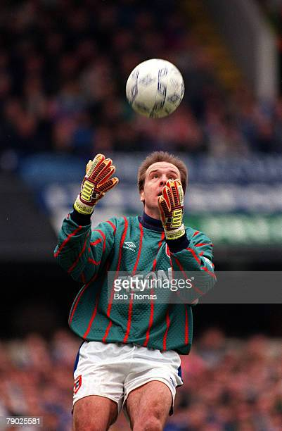 Sport Football FA Cup Quarter Final Portman Road England 6th March 1993 Ipswich 2 v Arsenal 3 Clive Baker Ipswich goalkeeper prepares to catch the...