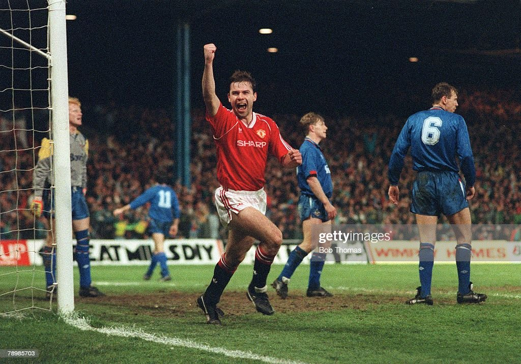 Sport. Football. FA Cup Semi Final Replay. Maine Road. 11th April 1990. Manchester United 2 v Oldham Athletic 1 aet. United's Brian McClair celebrates after scoring the first goal. : News Photo