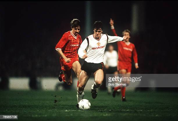 Sport Football FA Cup Semi Final Replay Maine Road 17th April 1985 Manchester United 2 v Liverpool 1 Manchester United's Mark Hughes shoots to score...