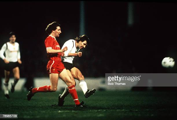 Sport Football FA Cup Semi Final Replay Maine Road 17th April 1985 Manchester United 2 v Liverpool 1 Manchester United's Bryan Robson shoots past...