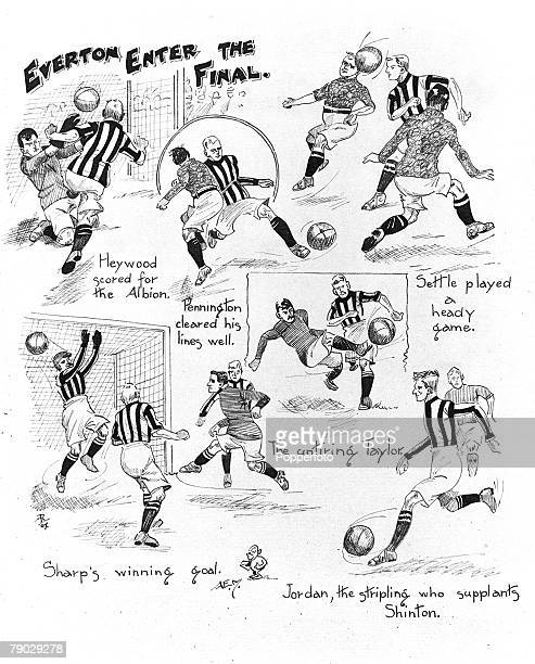 Sport Football FA Cup SemiFinal Burnden Park Bolton England 25th March 1907 Everton 2 v West Bromwich Albion 1 An illustration by Amos Ramsbottom...