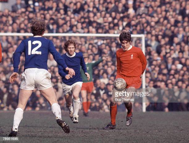 Sport Football FA Cup SemiFinal Old Trafford Everton 1 v Liverpool 2 Liverpool's Emlyn Hughes watched by Everton's Alan Ball
