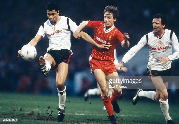 Sport Football FA Cup SemiFinal Replay at Maine Road Manchester United 2 v Liverpool 1 pic 17th April 1985 Manchester United pair Paul McGrath left...