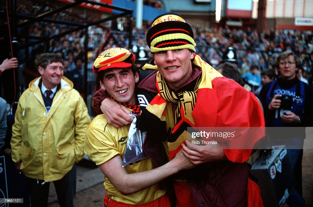 Sport, Football, FA Cup Semi-Final, Villa Park, 14th April 1984, Watford 1 v Plymouth Argyle 0, Watford's Nigel Callaghan (left) and Steve Terry celebrate after the match : News Photo