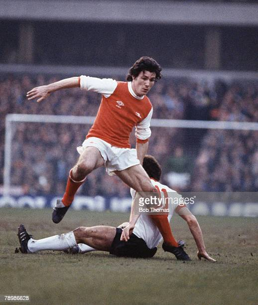 Sport Football FA Cup SemiFinal Villa Park Second Replay Liverpool v Arsenal Arsenal's Frank Stapleton leaps over Liverpool's Graeme Souness