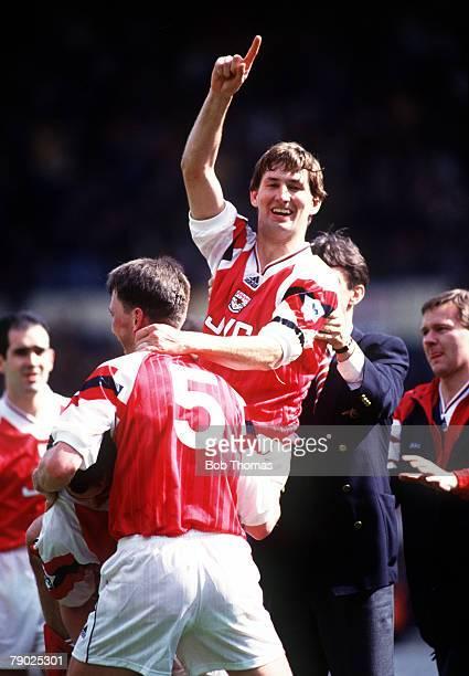 Sport Football FA Cup SemiFinal Wembley London England 4th April 1993 Arsenal 1 v Tottenham Hotspur 0 Arsenal's Tony Adams celebrates with teammate...