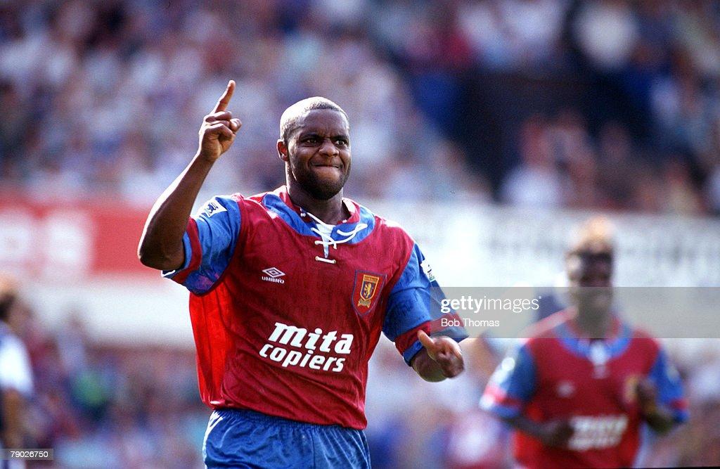 Sport. Football. FA Premier League. Portman Road, England. 15th August 1992. Ipswich Town 1 v Aston Villa 1. Aston Villa's Dalian Atkinson celebrates after scoring. : News Photo
