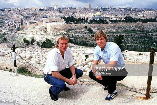 Sport, Football, Feature, Israel, 25th February 1986, England+s Gary Bailey is pictured sight-seeing with Chris Woods in Jerusalem