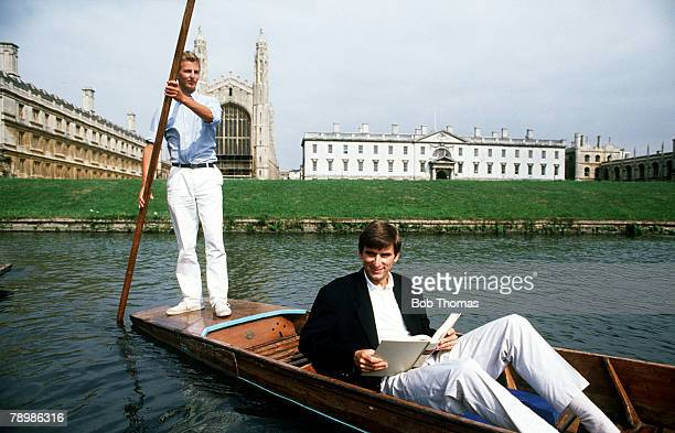 August 1989 The Football Academic Arsenal and England striker Alan Smith in a punt on the River Cam at Cambridge