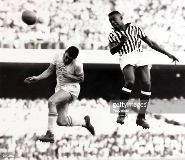Sport Football February 1959 Pele wins a battle for a high ball while playing in the Sao Paulo Championship Pele was perhaps the most famous...