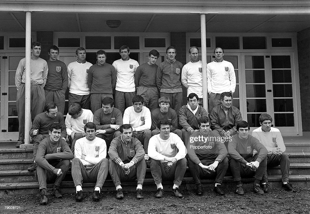 Sport. Football. February 1968. England Squad prior to the Home Championship and European Nations Cup Qualifying match with Scotland at Hampden Park. An England squad get-together at Lilleshall. Back Row L-R: Alex Stepney, Mike Summerbee, Bobby Moore, Mik : News Photo