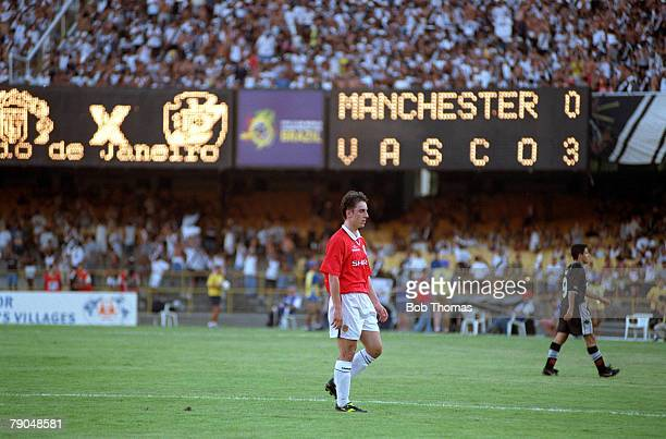 Sport Football FIFA Club World Championships Rio de Janeiro Brazil 8th January 2000 Vasco Da Gama 3 v Manchester United 1 Manchester United's Gary...