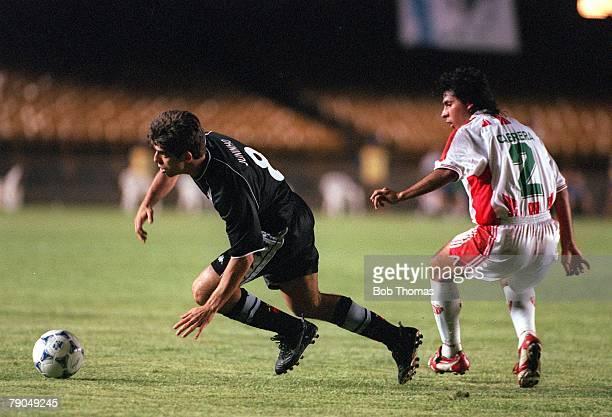 Sport Football FIFA Club World Championships Rio de Janeiro Brazil 11th January 2000 Vasco Da Gama 2 v Necaxa 1 Vasco Da Gama's Juninho gets away...