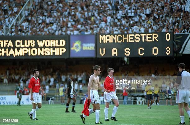 Sport Football FIFA Club World Championships Rio de Janeiro Brazil 8th January 2000 Vasco Da Gama 3 v Manchester United 1 The electronic scoreboard...