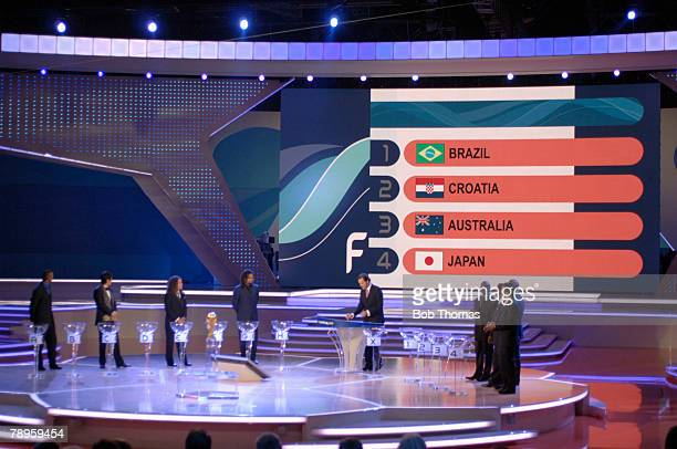 Sport Football FIFA World Cup 2006 Draw Leipzig Germany 9th December 2005 General view of the stage with the draw in progress this screen showing the...