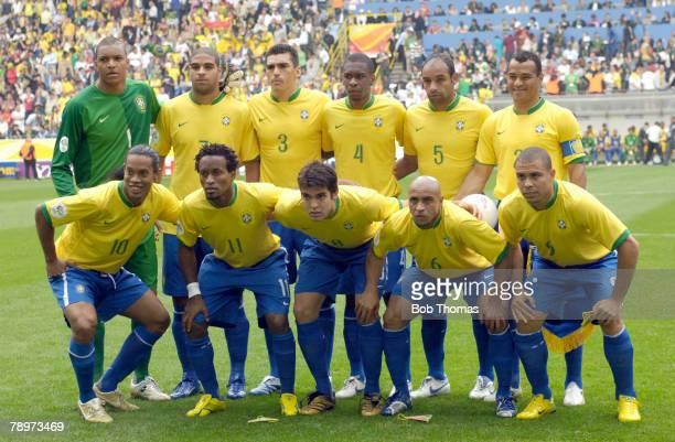 Sport Football FIFA World Cup Dortmund 27th June 2006 Brazil 3 v Ghana 0 Brazil team group Back row leftright Dida Adriano Lucio Juan Emerson Cafu...