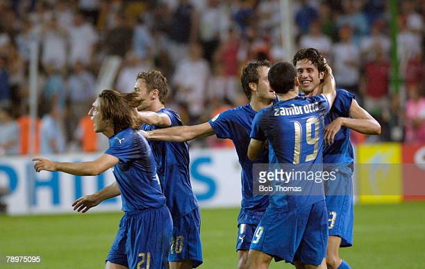 Sport Football FIFA World Cup Dortmund 4th July 2006 Semi Final Germany 0 v Italy 2 Italy celebrations at the end of the match with those...