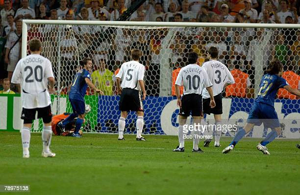 Sport Football FIFA World Cup Dortmund 4th July 2006 Semi Final Germany 0 v Italy 2 Italy's Fabio Grosso has scored Italy's 1st goal late in extra...