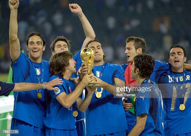 Sport Football FIFA World Cup Final Berlin 9th July 2006 Italy 1 v France 1 Italy won 53 on Penalties Italy players celebrating with the World Cup...
