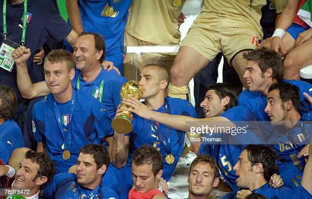 Sport Football FIFA World Cup Final Berlin 9th July 2006 Italy 1 v France 1 Italy won 53 on Penalties Italy captain Fabio Cannavaro kisses the World...