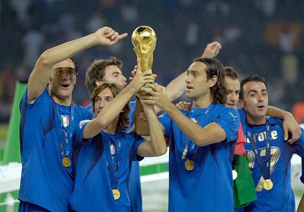 Sport, Football, FIFA World Cup Final, Berlin, 9th July 2006, Italy 1 v France 1, , Italy won 5-3 on Penalties, Italy's Andrea Pirlo and Alessandro...