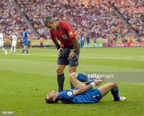Sport Football FIFA World Cup Final Berlin 9th July 2006 Italy 1 v France 1 Italy won 53 on Penalties Argentinian referee Horacio Elizondo rushes...