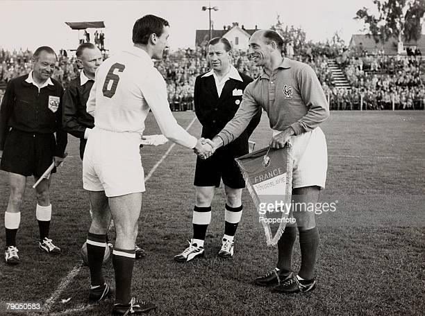 Sport Football FIFA World Cup Finals 11th June 1958 Vasteras Sweden Group Two France 2 v Yugoslavia 3 French captain Roger Marche meets Yugoslavias...