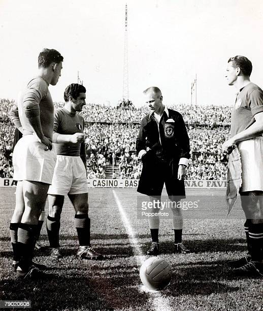 Sport Football FIFA World Cup Finals 23rd June 1954 Basle Switzerland Group Four Italy 1 v Switzerland 2 Welsh referee Mervyn Griffiths with the team...