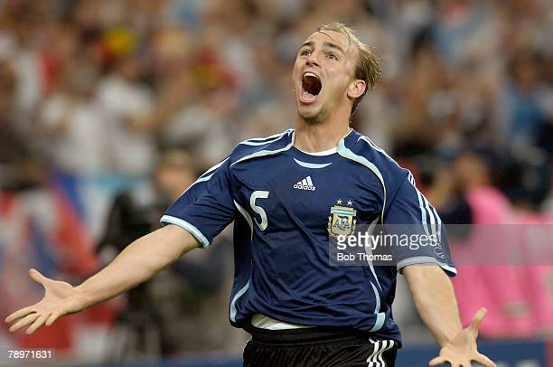 Sport Football FIFA World Cup Gelsenkirchen 16th June 2006 Argentina 6 v Serbia and Montenegro 0 Argentina's Esteban Cambiasso celebrating after he...