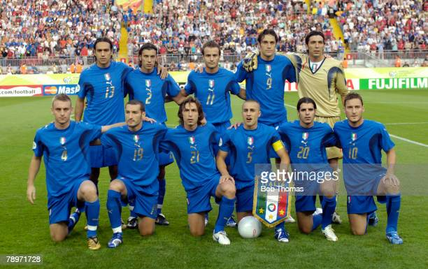 Sport Football FIFA World Cup Kaiserslautern 17th June 2006 Italy 1 v USA 1 Italy team group Back row leftright Alessandro Nesta Cristian Zaccardo...