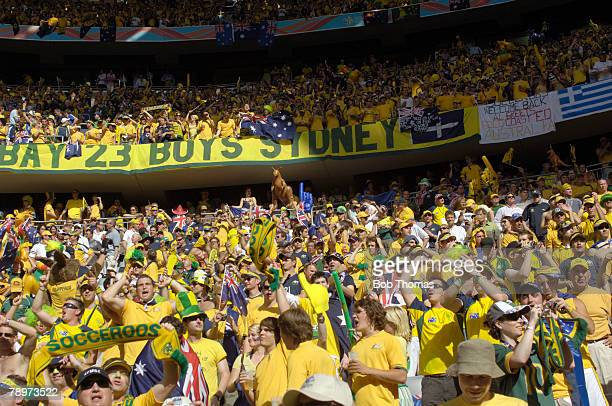 Sport Football FIFA World Cup Munich 18th June 2006 Brazil 2 v Australia 0 Massed ranks of Australian fans supporting the 'Socceroos'