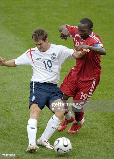 Sport Football FIFA World Cup Nuremberg 15th June 2006 England 2 v Trinidad and Tobago 0 England striker Michael Owen passes the ball as Trinidad and...