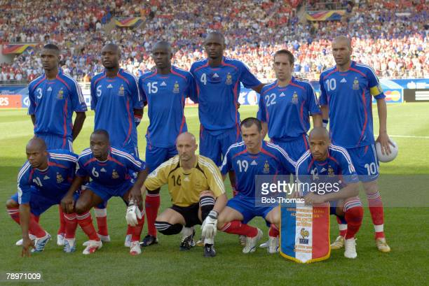 Sport Football FIFA World Cup Stuttgart 13th June 2006 France 0 v Switzerland 0 France team group Back row leftright Eric Abidal William Gallas...