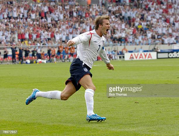 Sport Football FIFA World Cup Stuttgart 25th June 2006 England 1 v Ecuador 0 England captain David Beckham runs away to celebrate after scoring the...