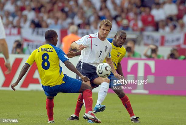 Sport Football FIFA World Cup Stuttgart 25th June 2006 England 1 v Ecuador 0 England captain David Beckham opposed by Ecuador's Edison Mendez