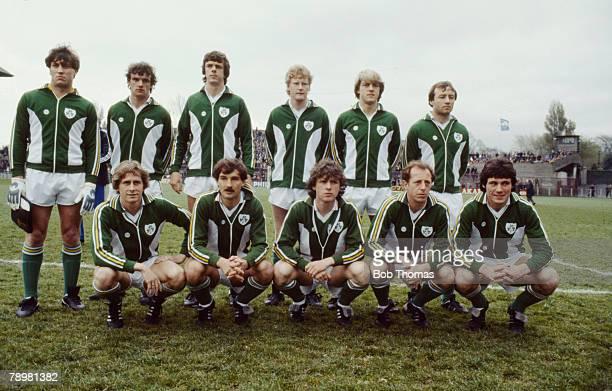 Sport, Football, Friendly International in Dublin, Republic of Ireland 3 v Czechoslovakia 1, Republic of Ireland team, Kevin Moran, David O'Leary,...